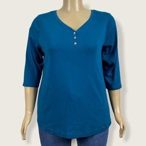 Croft & Barrow V-neck Henley Shirt T-shirt 2X Plus